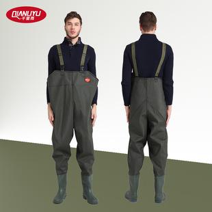 厂家直销下水裤背带针织军绿加厚水衩连体半身全身户外钓鱼服A