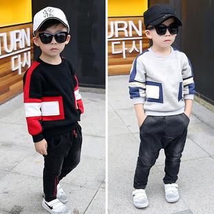 童装一件代发2016冬季新款韩版时尚方形拼接加厚卫衣中小童潮裤