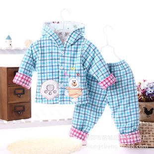清仓款冬季儿童棉袄婴儿棉衣灯芯绒加厚连帽格子开衫宝宝棉服套装