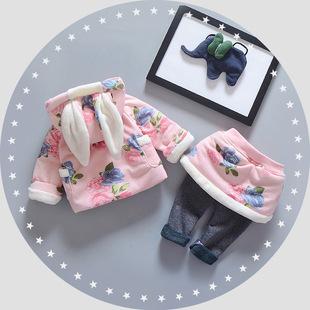 2016新款宝宝套装可爱女童上衣裙裤连帽长袖加绒两件套 一件代发