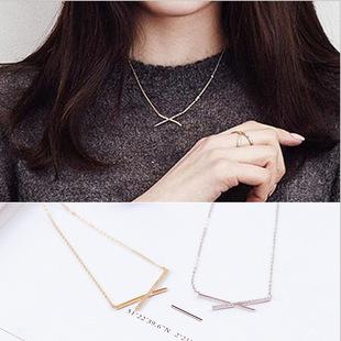 韩国韩版 女式简约交叉镶钻女士潮流时尚气质女款项链锁骨链