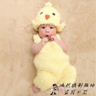 外贸新生儿摄影满月照百天照摄影帽子多色可爱小鸡子造型拍照套装