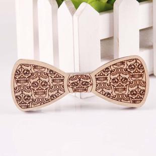 现货供应 创意锻木木头木质领结 骷髅头 蝴蝶结领花 木质领夹领