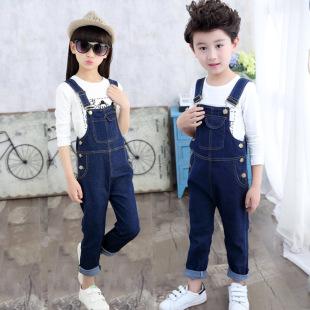 детская одежда поколению жира в весенний и осенний сезон 2018 новый корейский моды Сплошной цвет брекеты брюки джинсы мальчиков и девочек
