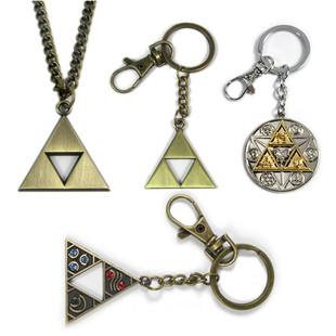 塞尔达传说三角力量彩钻合金属钥匙扣项链饰品挂件金银铜色三角形