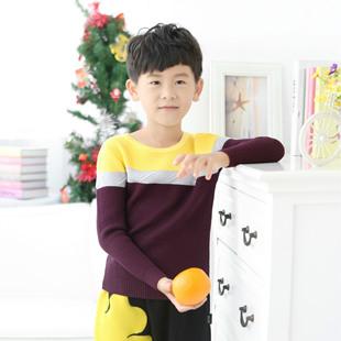 2016童装毛衣外贸原单新款纯棉立体条纹 圆领男童套头衫