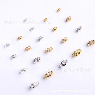 藏银 金色银色圆形水钻隔珠 韩版 DIY串珠手链镶钻大孔珠厂家直销