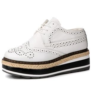 欢乐颂曲筱绡王子文同款鞋子 英伦风真皮系带松糕厚底布洛克女鞋