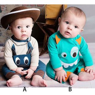 婴儿服装 秋装俏皮可爱驴哈衣男宝宝长袖连身衣11896