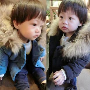 童装冬装2016新款男女童纯色棉袄加厚儿童棉服宝宝长款毛领棉衣潮