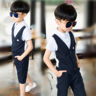 2016童装夏小西装男童马甲套装韩版花童礼服节目主持人909表演服