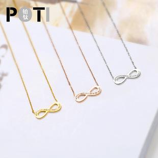 钛钢玫瑰金女式倒8字项链 不褪色不过敏锁骨链吊坠 一件代发