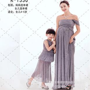 新款影楼孕妈亲子装摄影服 时尚母女装拍照裙孕妇装照相写真服饰