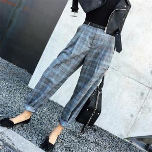 TKSTYLE定制 秋季超in格子风 很时髦的高腰灰蓝格薄毛呢宽腿裤
