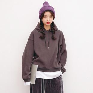 2016秋冬韩版女装新款 休闲连帽纯色拼接假两件加绒宽松长袖卫衣