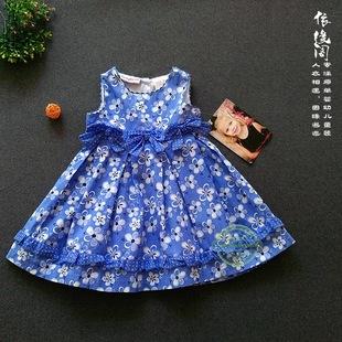 2016春季新款原单女童背心连衣裙可爱花朵满印纯棉公主连衣裙潮品