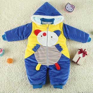 新生儿外出爬爬服水晶绒连体哈衣加厚分腿睡袋婴幼儿童服装批发