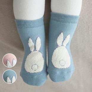 16新款韩版冬季珊瑚绒拼接毛圈袜加厚儿童袜卡通宝宝袜