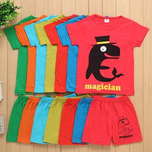 3-8岁男女童短袖套装 广东服装厂直批供应326款混批图案童套装