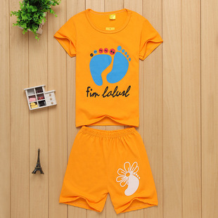 外贸韩版童套装 夏季新款圆领儿童套装短袖t恤两件套地摊2214款