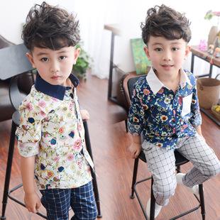 童装2016春装新款潮 男童韩版长袖衬衫 宝宝儿童春秋衬衣