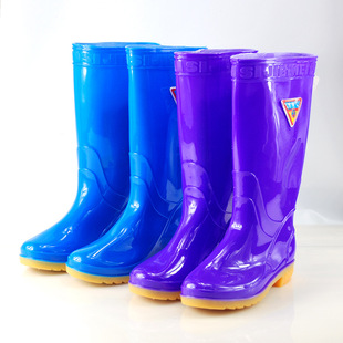 思捷美813黄底雨鞋女款时尚雨鞋防滑耐磨牛筋底水鞋舒适高筒雨靴