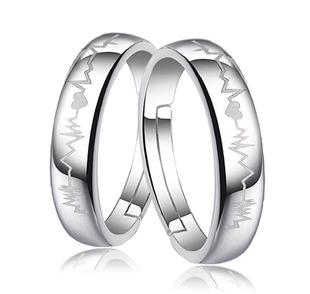 银戒子 情侣戒指 一对男女心电图开口指环活口心跳对戒厂家批发