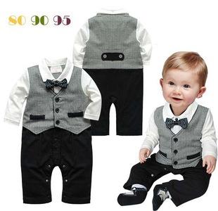 一件代发热销春秋英伦领结绅士马甲长袖哈衣爬服婴幼儿周岁连体衣