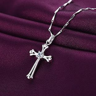 欧美wish爆款项链女锆石时尚大牌夸张十字架吊坠女士饰品项饰批发
