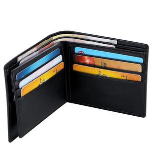 外贸爆款RFID短款男士钱包真皮黑色卡包钱夹款防磁防扫描功能订做