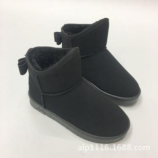 韩版女士磨砂皮加绒平底蝴蝶结雪地靴短靴保暖毛毛鞋批发
