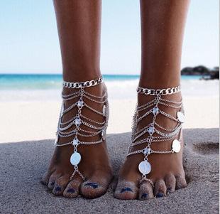 欧美外贸饰品 朋克复古风 金属重工 钱币 多层流苏链条脚链现货