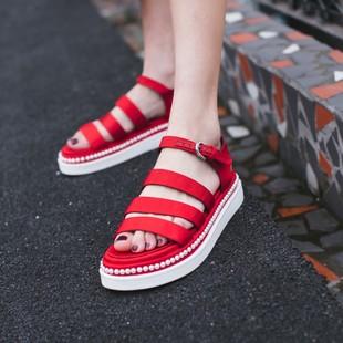 韩版夏季真皮新款平底凉鞋纯色珍珠舒适露趾鞋爆款特价女鞋批发