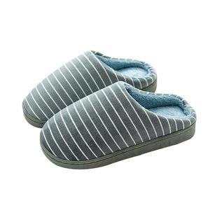 任意门居家条纹棉拖情侣拖鞋男士女士冬季拖鞋40-41果绿单双