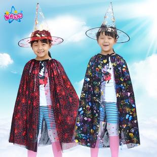 万圣节巫婆披风儿童服化妆舞会网纱披风表演演出服饰南瓜巫婆斗蓬