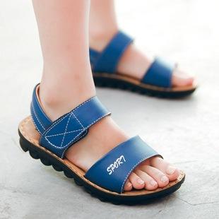 2017新款男童真皮男童凉鞋 魔术贴露趾透气儿童沙滩鞋 一件代发