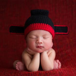 婴儿摄影帽子百天满月宝宝拍照道具帽子儿童百岁照写真县官造型帽