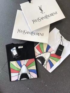 鲨鱼印花短袖T恤 男女情侣装纯棉圆领欧美风简约潮T打底衫