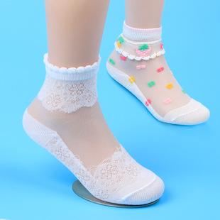2017新款儿童花边超薄款透明女童水晶袜 不勾丝童袜松口短袜夏季