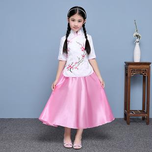 批发儿童唐装夏2017中国风古装汉服六一表演女童古筝写真服套装