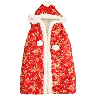 秋冬款婴儿斗篷 男女宝宝包被儿童披风外出批发缎面披肩一件代发