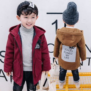 童装男童字母呢子大衣2017新款儿童秋冬韩版冬装毛呢外套一件代发