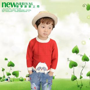 2017春季新款男女童中小童圆领挂小熊可爱韩版动物卡通毛衣毛线衫