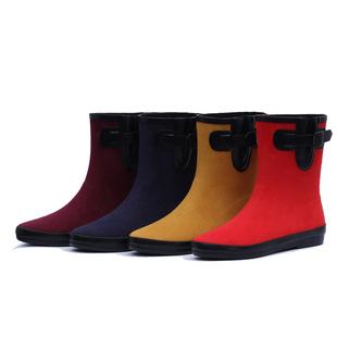 2017新款中短款时尚纯色水靴女天然橡胶鞋防滑雨鞋中筒雨水靴成人