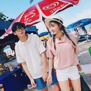 女装 2017夏装新款情侣T恤纯色铁圈短袖 N257 P40