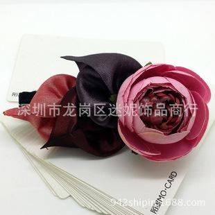 韩版手工发夹批发 布艺头饰复古风干花系列弹簧横夹马尾扣夹