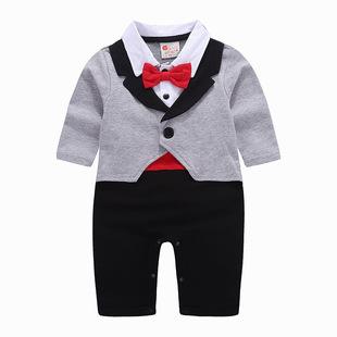 婴儿连体衣春秋装爬服男宝宝绅士长袖连体哈衣16000