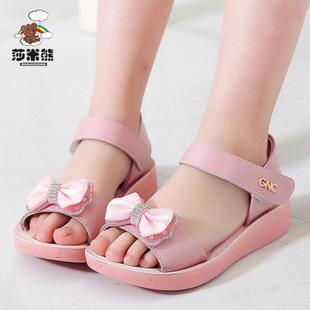 2017夏季新款女童真皮凉鞋儿童凉鞋鞋韩版蝴蝶结公主鞋一件代发