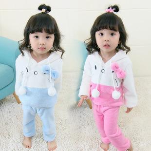 女童冬装卡通家居服套装2017新款韩版中小童儿童绣花猫咪一件代发