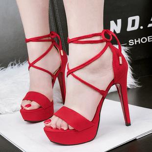 5189-2(此款售完不补货)夜店凉鞋交叉绑带高跟鞋细跟凉鞋